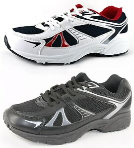 NEW-MENS-TRAINERS-TRAINING-SHOES-BLACK-WHITE-LACE-UPS-SIZE-UK-6-13