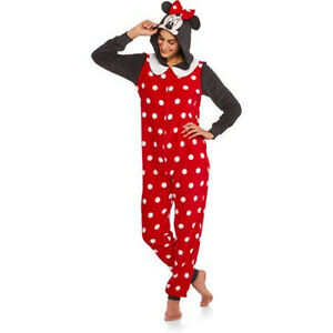 32c605042959 Women Hooded MINNIE MOUSE Onesie Adult Union Suit Fleece Pajama One ...