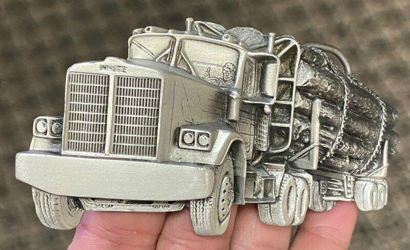 1980 White Brand Trucks Solid Brass Vintage Mens Belt Buckle