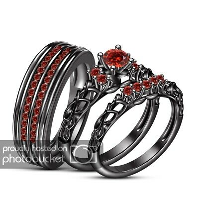 Red Garnet Black Gold Fn His Her Engagement Wedding Anniversary