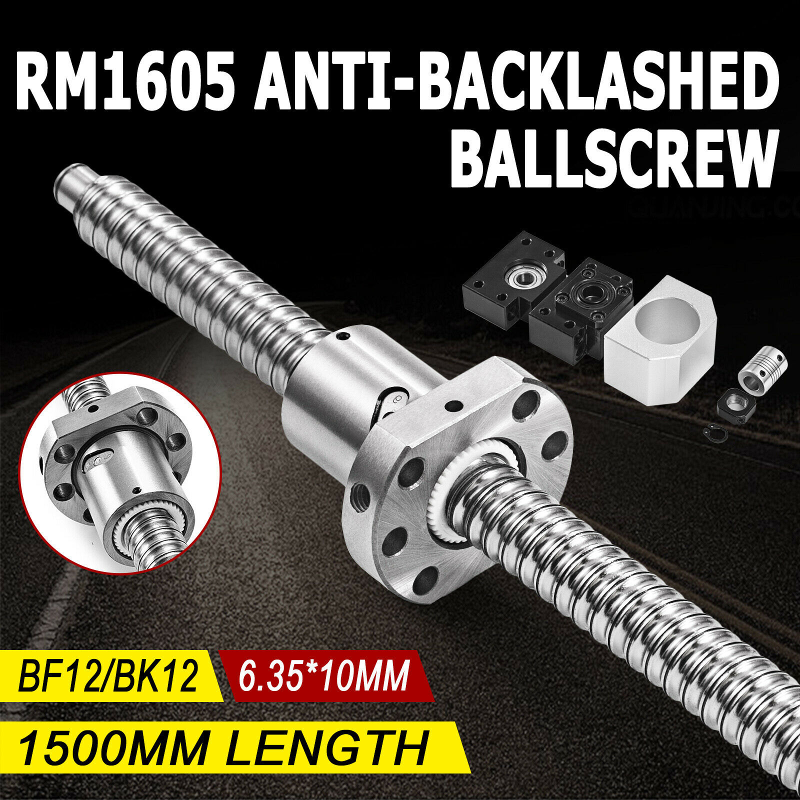 M/_M/_S RM1605 Ballscrew L570mm with Ball Nut Both end Machined