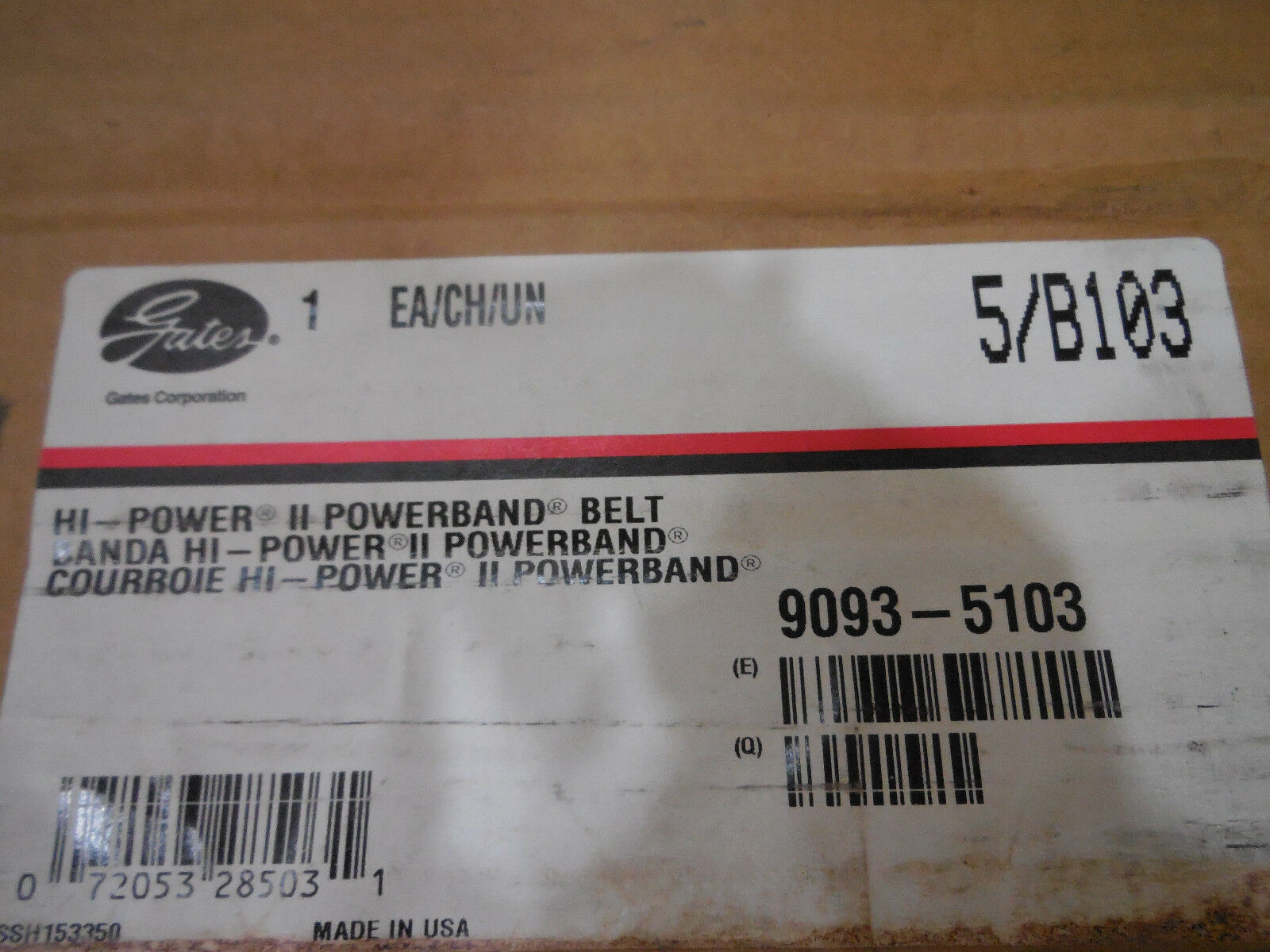 NEW GATES 5-B103 POWERBAND BELT 5B103