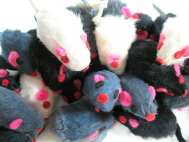 30 ZANIES FURRY MICE cat toy kitten toys REAL FUR MICE non-rattle mouse bulk