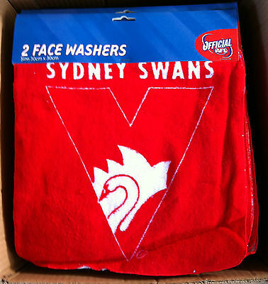 AFL SYDNEY SWANS  2 PACK FACE WASHER 30CM X 30CM *SPECIAL PRICE*BRAND NEW
