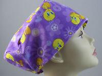 Womens Surgical_scrub Hat_tweety Bird_yellow_bird_purple_cute_happy_fun
