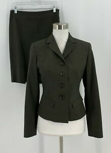 Ann-Taylor-Womens-Skirt-Suit-Size-4P-6P-Green-Career-Jacket-Wool-Blend-C3