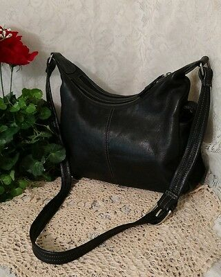 Tignanello Black Leather Handbag Shoulder Bag Purse VGC