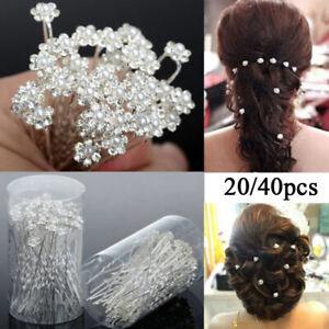 40x Carstal Hair Clips Wedding Bridal Pearl Flower Crystal Hair Pins Accessories