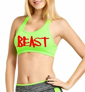 Women/'s Petite Red Beast Cross Back Fitted Sports Bra Workout Gym Fitness Train