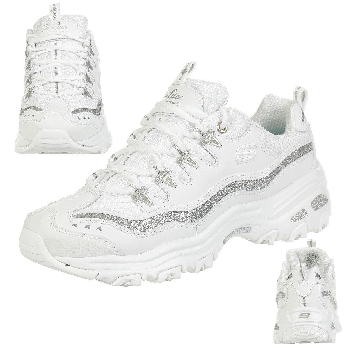 Skechers Sport D'Lites-Now & Then Zapatillas Deportivas de Mujer, blancoo,