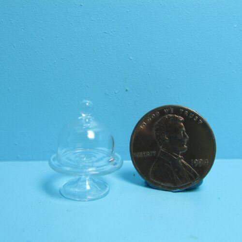 Dollhouse Miniature Glass Pedestal Cake Plate with Dome Lid ~ Tiny ~ A1177S
