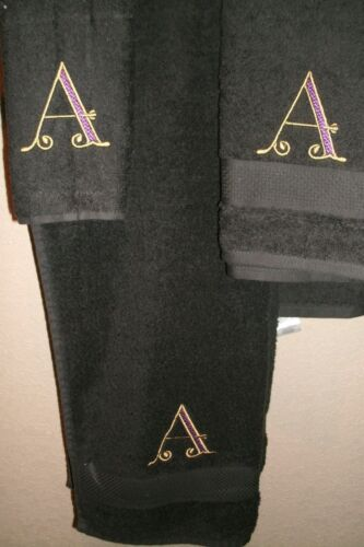 Monogram Victorian Letter Initial Personalized 3 Piece Bath Towel Set Any Color