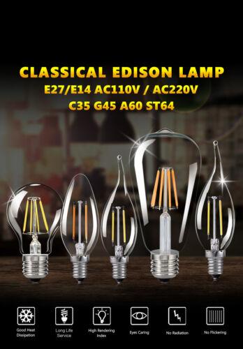 E27 E14 4//8//16W COB AMPOULE LED EDISON FILAMENT LUMIÈRE VINTAGE COULOIR LAMPES