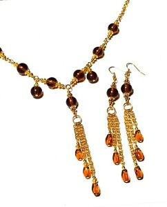 Long-Amber-Glass-Bead-Necklace-Earring-Set-Gold-Tone-Chain-Choker-Prom-Statement