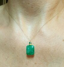 14k solid stamped yellow gold 11ct Zambian 15mm Emerald necklace pendant