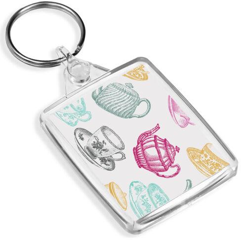 High Tea Party Porte-clés Tasse à thé théière vintage Maman Tata Gran Porte-clés Cadeau #8714