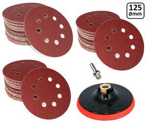 Klett-Schleifscheiben-125mm-Exzenterschleifer-Schleifpapier-Set-Sortiment-Teller
