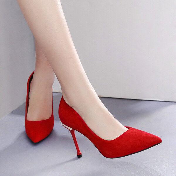 Schuhe Pumps Elegant Stilett 10 Rot Wildleder Leder Kunststoff 1584