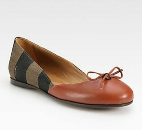 Fendi Womens Pequin Leather Canvas Striped Canvas Leather Ballet Flats US: 10    EUR:  41 cd58f9