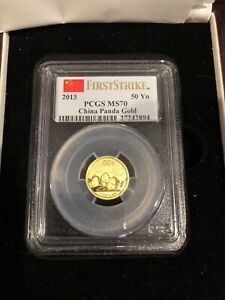 2013 China 50 Yuan MS70 First Strike PCGS Gold Panda 1/10 oz