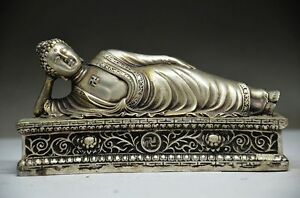 DELICATE-CHINESE-MIAO-SILVER-HANDWORK-CARVED-BUDDHA-STATUE