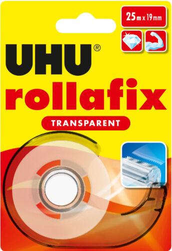 UHU rollafix transparent Klebeband inkl Abroller mit Metallmesser 25m x 19mm