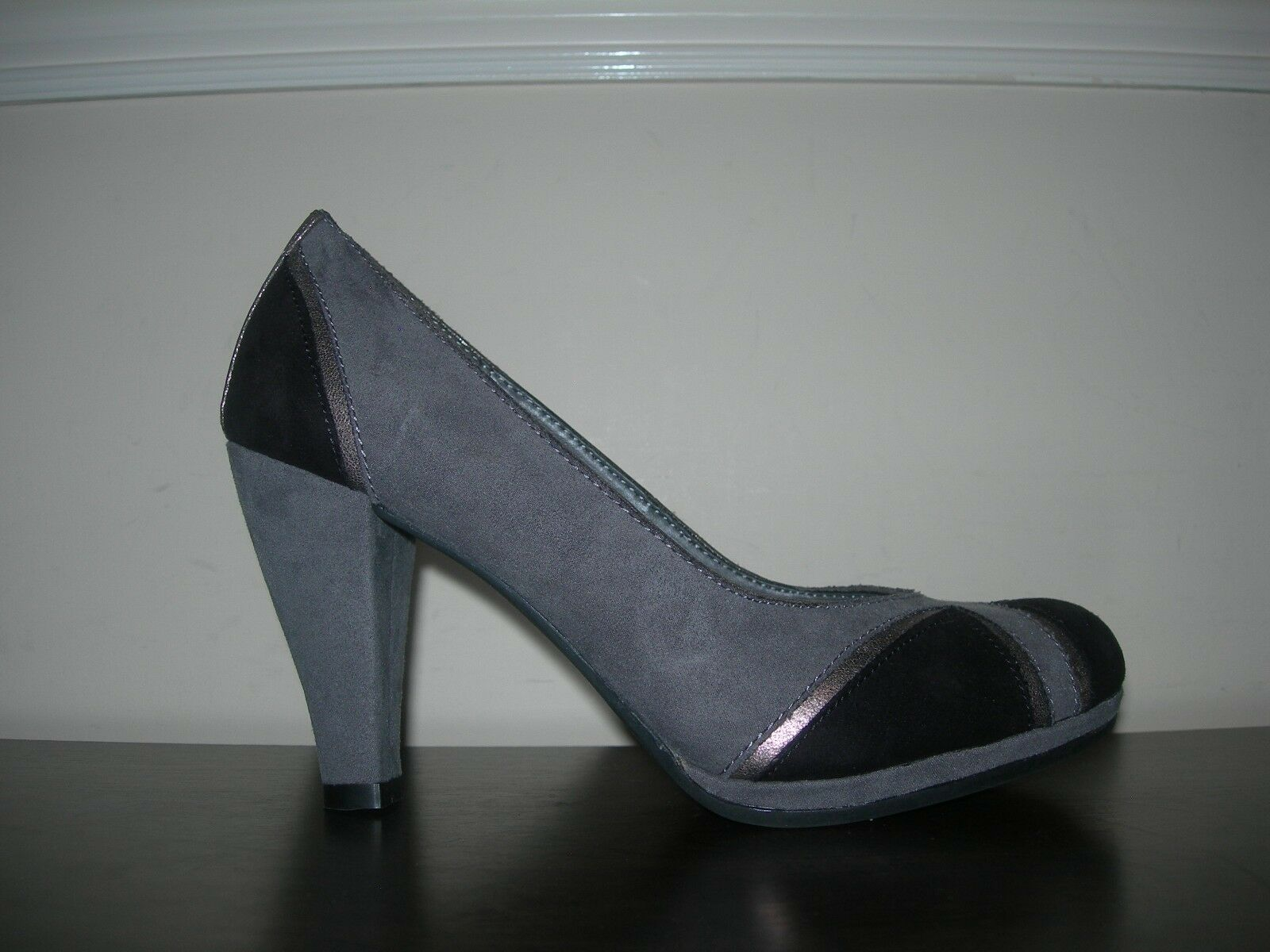 GRACELAND damen COURT schuhe schuhe schuhe HEELS grau schwarz METALLIC SYNTHETIC EU 37   UK 4 dc9c43