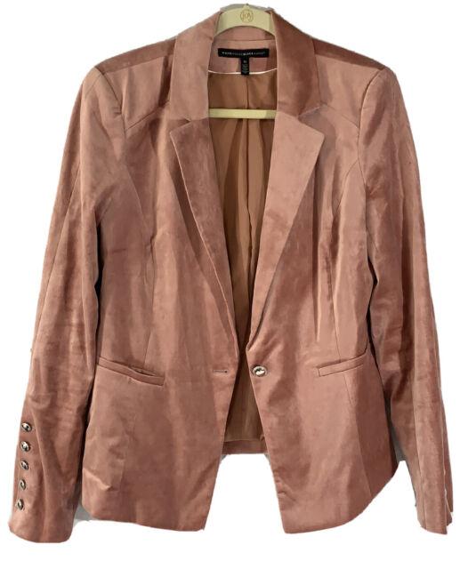 White House Black Market Womens Size 14 Pink Velour Blacker Jacket