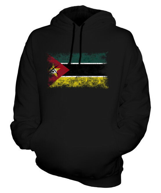 MOZAMBIQUE DISTRESSED FLAG UNISEX HOODIE TOP FOOTBALL MOZAMBICAN