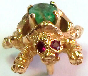 W14K-YELLOW-GOLD-TURTLE-CHARM-PENDANT-DIAMOND-RUBY-EYES-EMERALD-STONES-3-GR-fab