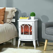 Electric Fireplace Stove, Freestanding Fireplace Heater W/ Realistic Flame White