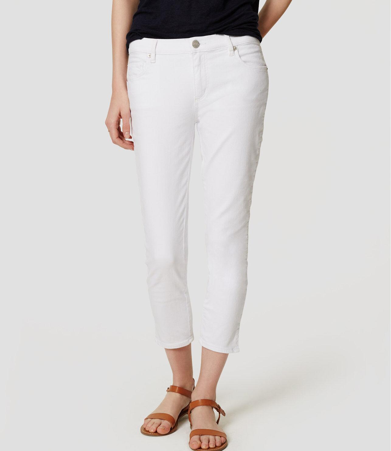 Ann Taylor LOFT Slim Vent Crop Jeans Pants in White Size 24 00P, 28 6P, 28 6 NWT