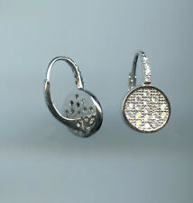MICRO PAVED SPARKLING CIRCLE SHAPED PAVE RUSSIAN CZ LEVERBACK EARRINGS