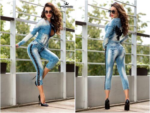 38  Blau FOGGI Damen 2 Teiler  Jeans Hose mit Jacke  Komplett 34 36