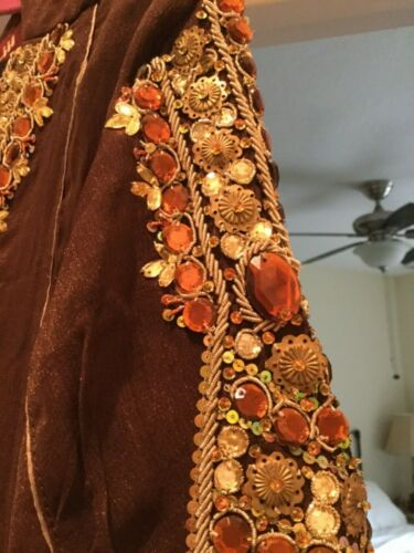 Caftan Vintage   Couture Brown Maxi Embroidered XL