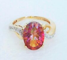 Womens 14k Solid Gold Ring 6.7ct Padparadscha Sapphire Diamond John Rinker 8 3/4