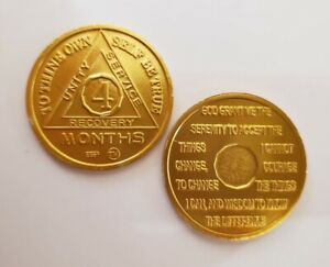Steps to Recovery Aluminum AA Medallions AA chips 1 Day at a Time Gold