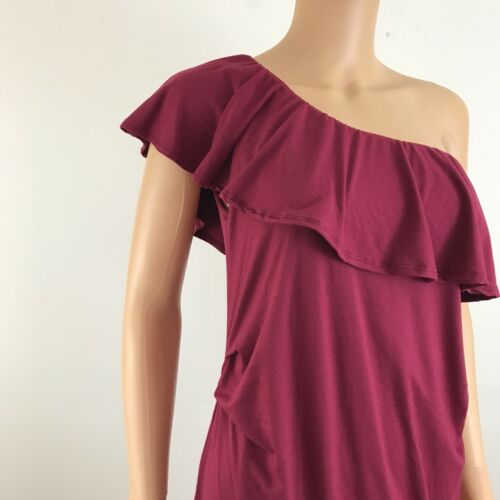 Pink bordeaux Side Ruffed Abito L Knit Taglia di Blush maternità One Shoulder OwOnr7x1