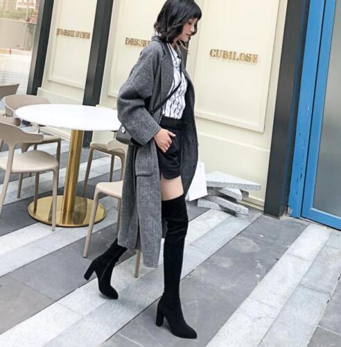 Femme Slim Cuissardes en Daim Chaud Bottes d/'hiver Bout Pointu Chunky Talons Hauts U608