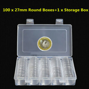 100Pcs-27mm-Transparente-Redondo-Fundas-Moneda-Capsulas-Almacenaje-Soporte-Caja