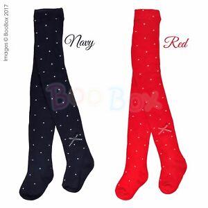 2394727ac5c8f Girls Red or Navy Polka Dot Ribbon Bow Cotton Rich Pex Tights 6 ...