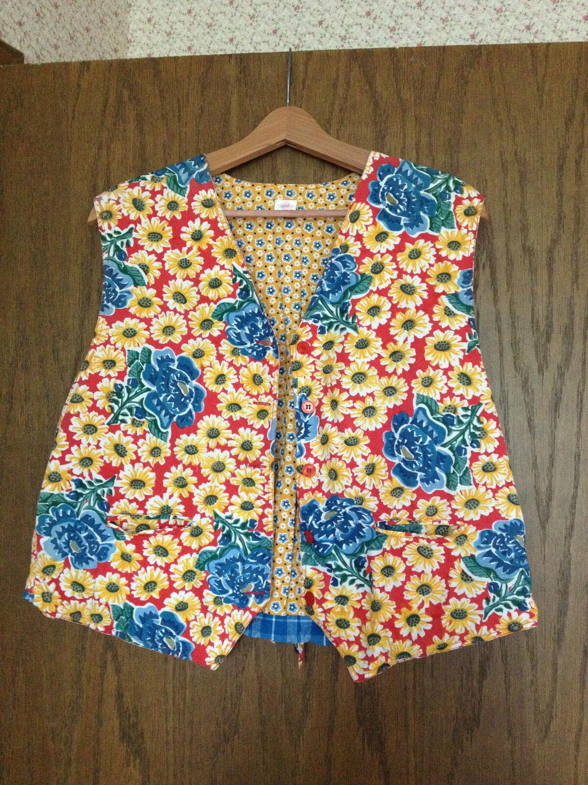 Women's Oilily Cotton Floral & Plaid Vest Size 44