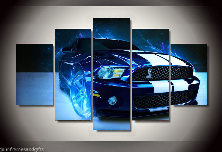 Shelby super car print canvas poster framed 5 pieces
