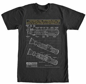 Star-Wars-Lightsaber-Schematics-Yellow-Logo-Black-Men-039-s-T-Shirt-New