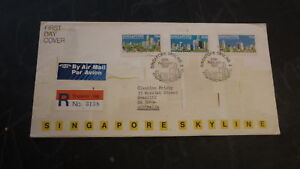 OLD-SINGAPORE-STAMP-ISSUE-REGISTERED-FIRST-DAY-COVER-1987-SKYLINE
