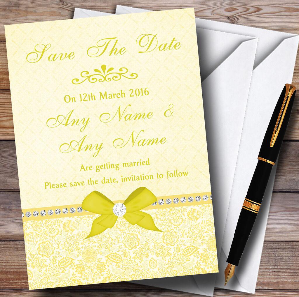 Pretty floral bow & strass jaune personnalisé date mariage save the date personnalisé cards 6c82b7