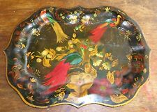 old tole painted tin tray exotic birds