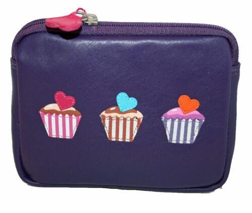 Mala Leather Piccolo//Medio in Pelle Portamonete Stile Betsy 414996 Cup Cakes NUOVO