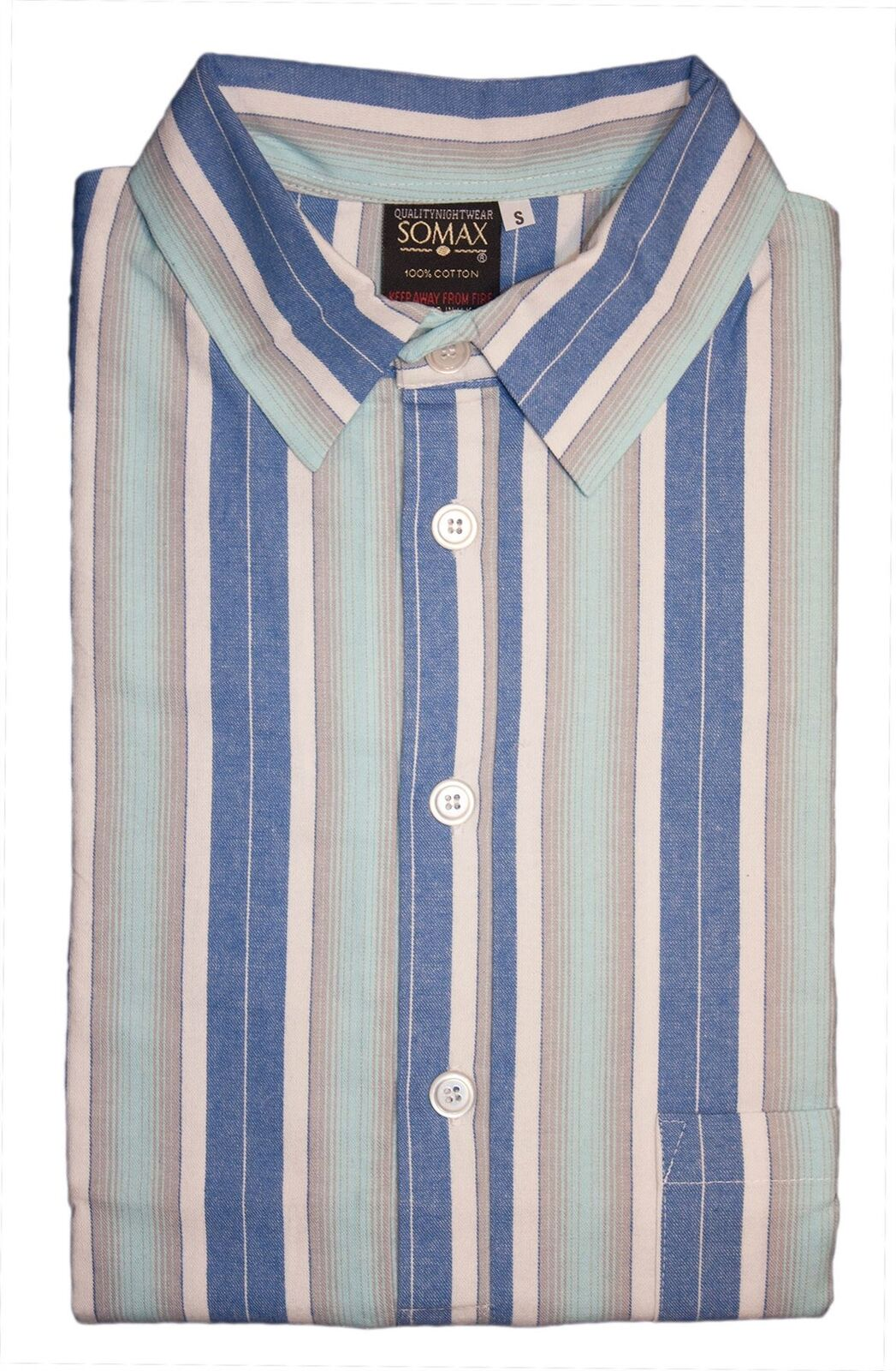 Men's Somax bluee Stripe Cotton Flannelette Nightshirt
