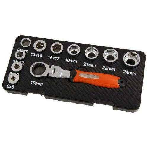 19mm Cabeza Llave De Trinquete Flexible Llave /& Socket Set 11pc tamaño 6-24mm CT4719